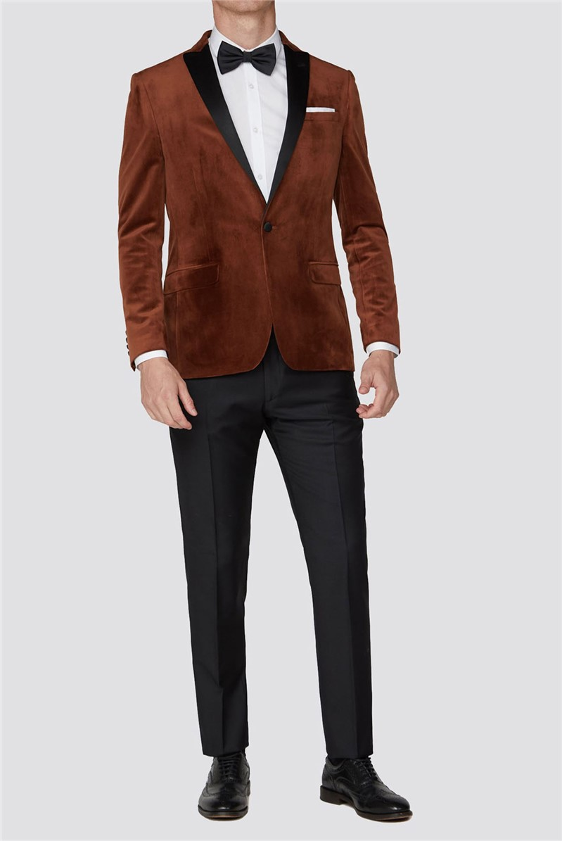 Orange Slim Fit Mens Velvet Blazer