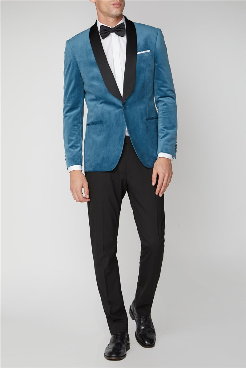 Teal Slim Fit Mens Velvet Blazer
