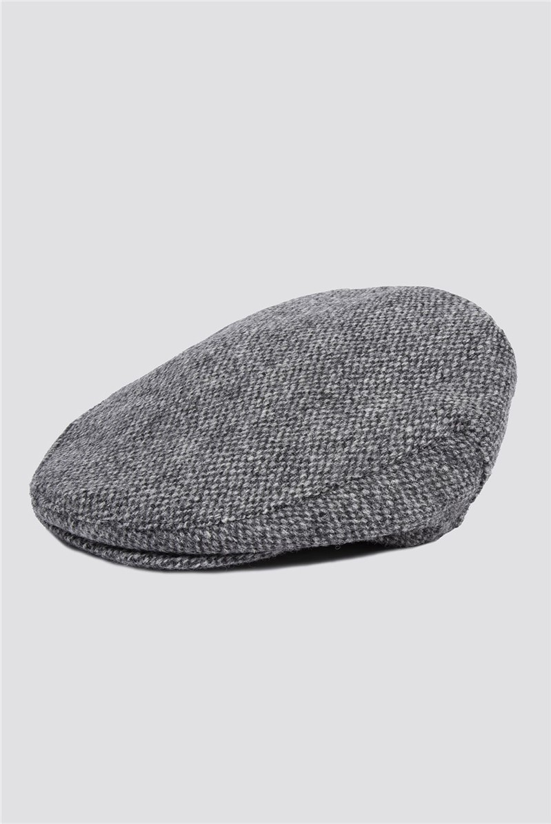 Racing Green Harris Tweed Grey Donegal Flat Cap