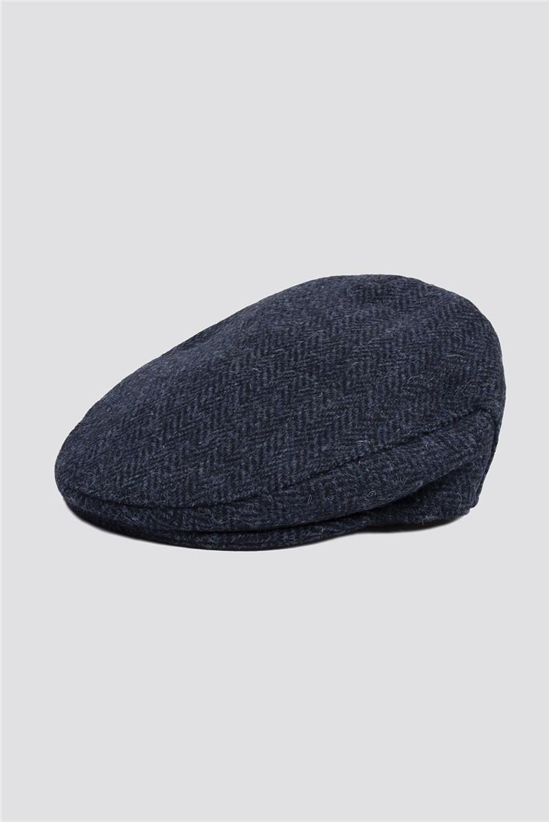 Harris Tweed Blue Herringbone Flat Cap