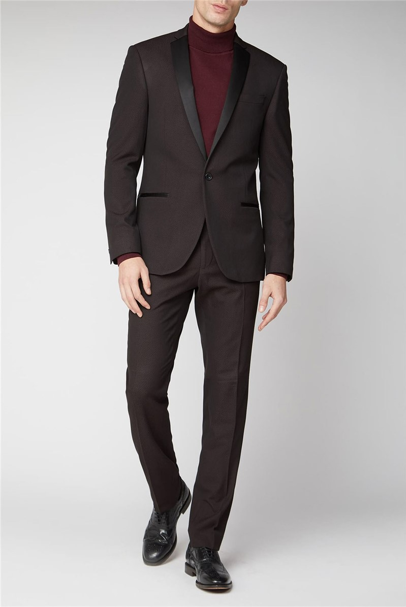 Burgundy Texture Slim Suit