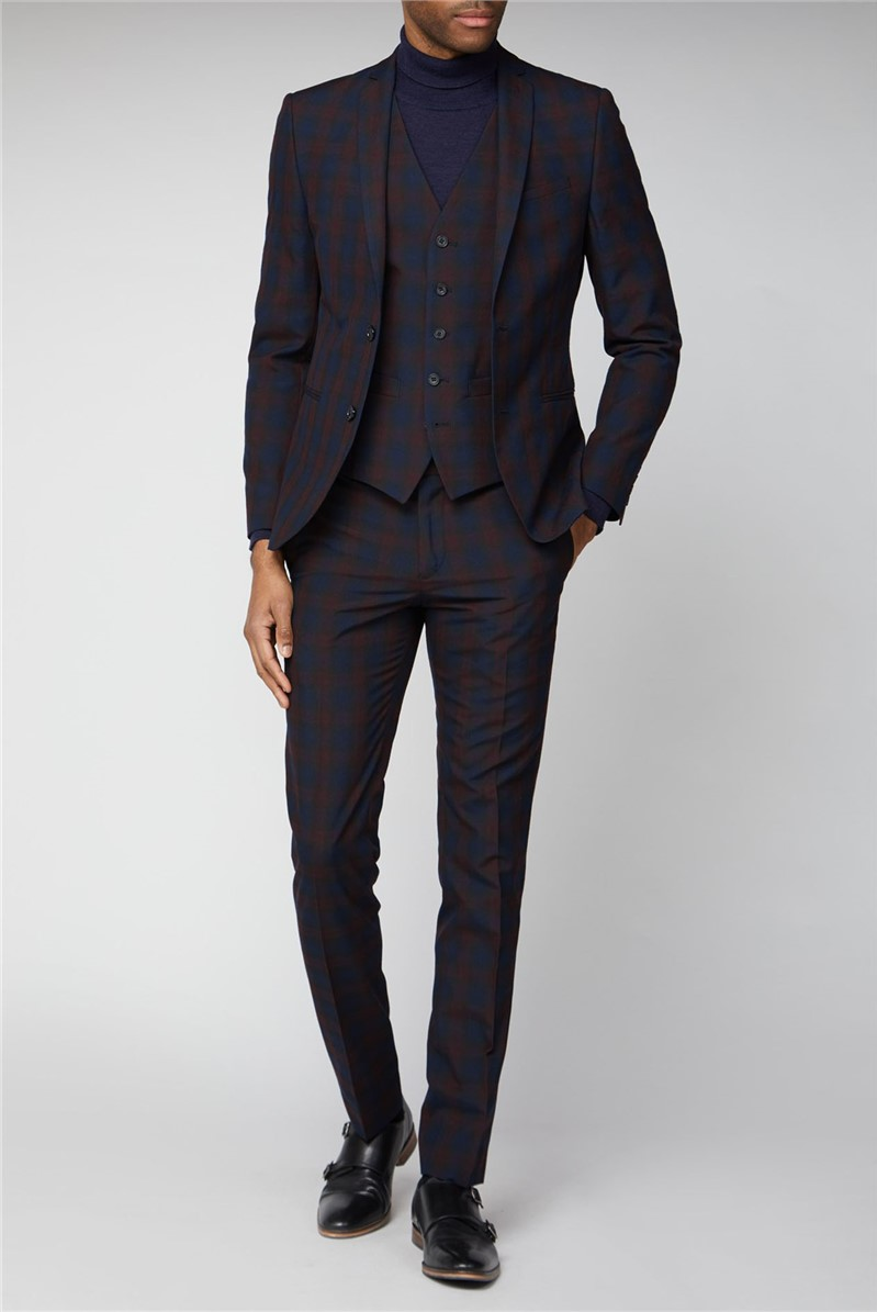 Navy Burgundy Check Skinny Suit