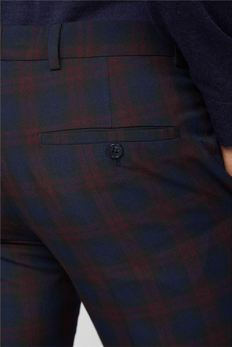 Navy Burgundy Check Skinny Waistcoat