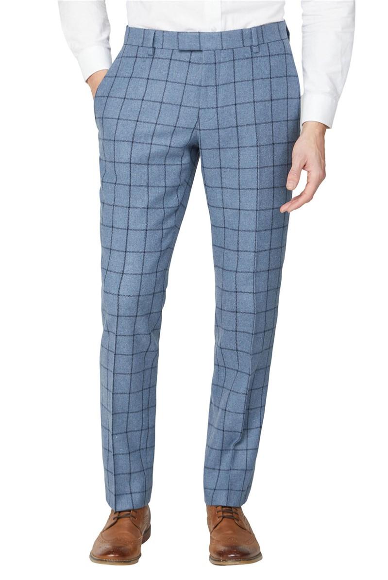 Blue Windowpane Heritage Tweed Tailored Trousers