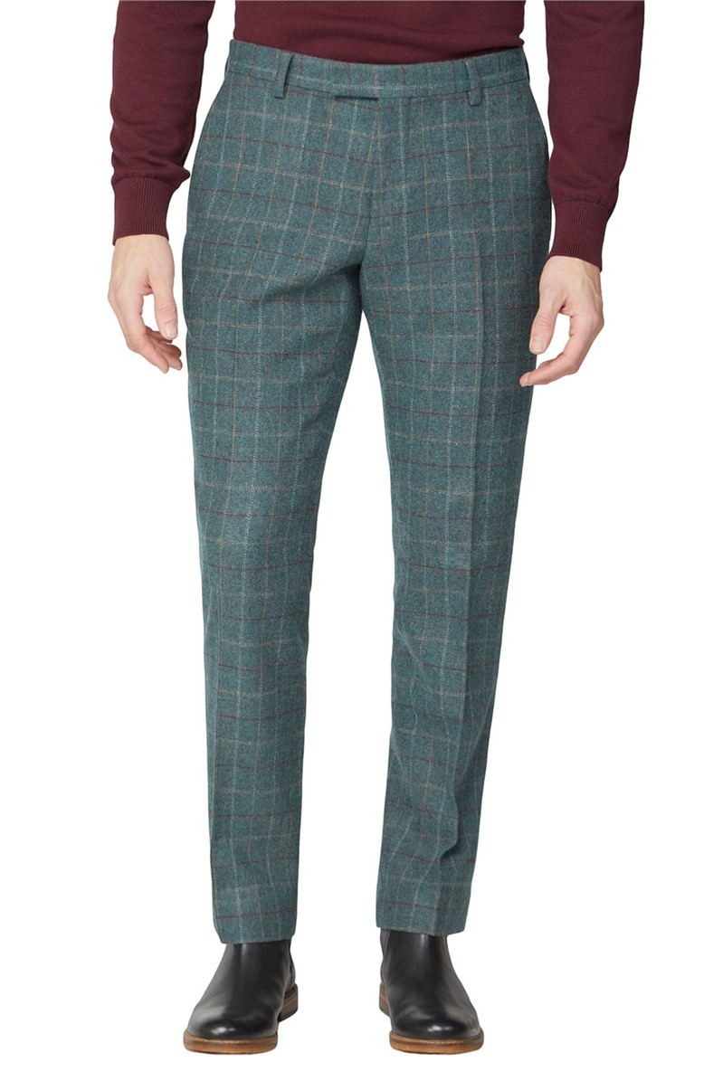 Green Heritage Check Tweed Trousers