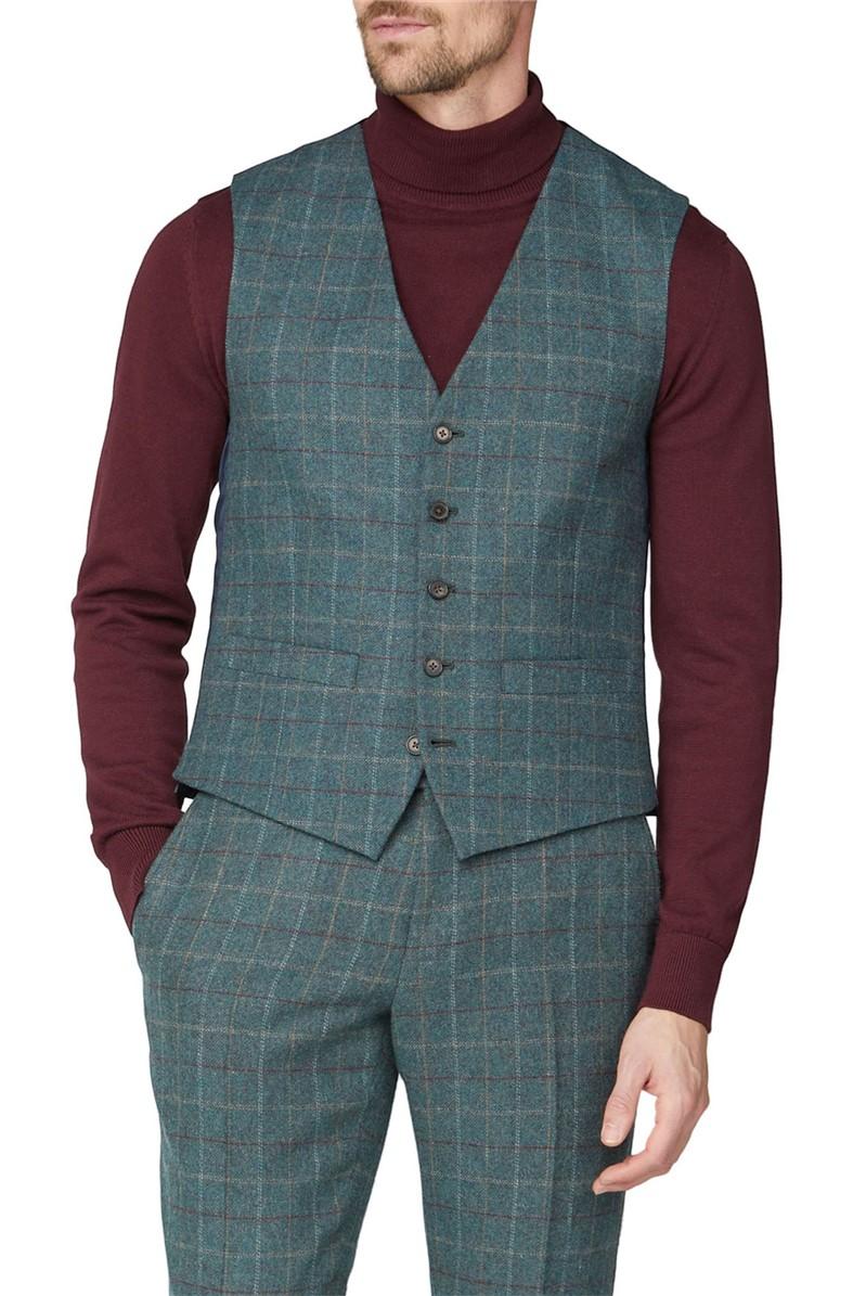 Green Heritage Check Tweed Waistcoat