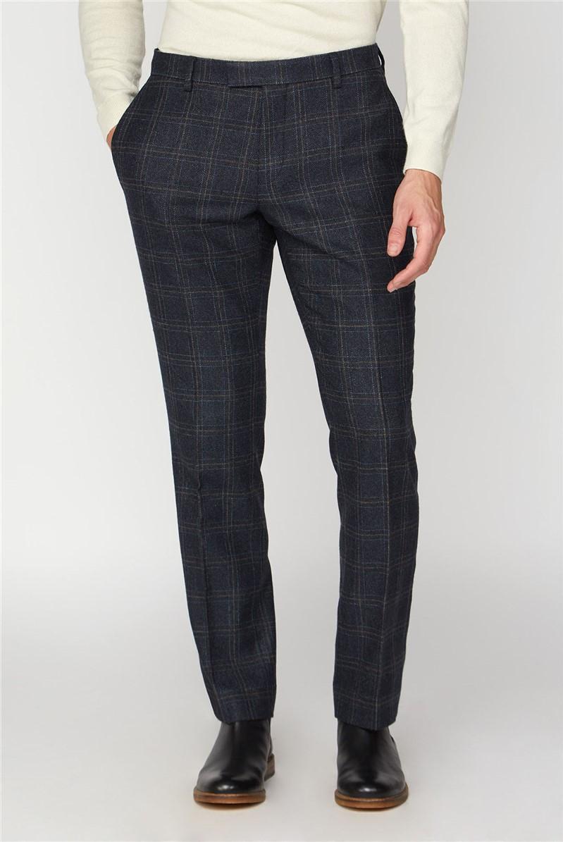 Navy Check Heritage Tweed Suit Trousers