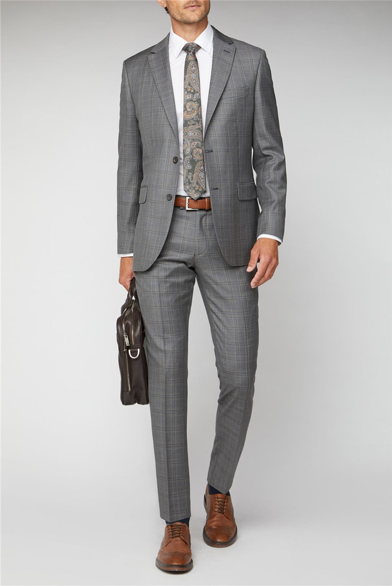 Grey Rust Check Regular Fit Suit