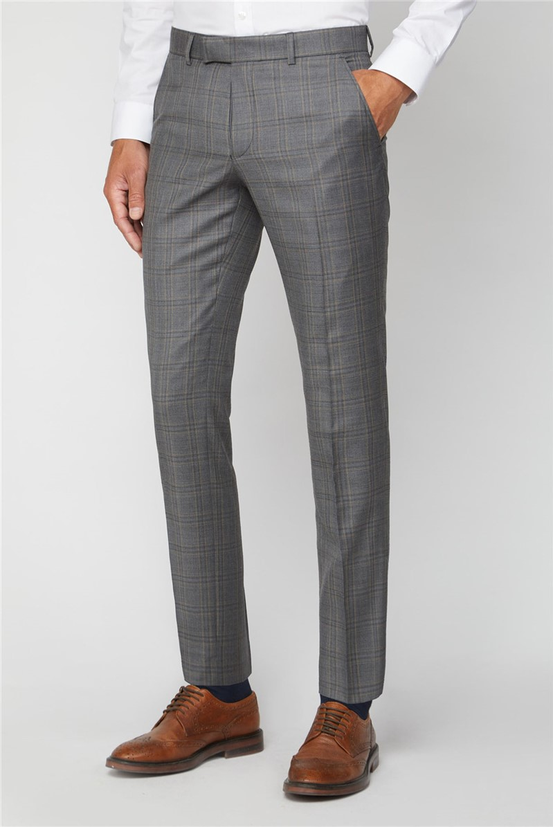 Grey Rust Check Regular Fit Suit Trouser