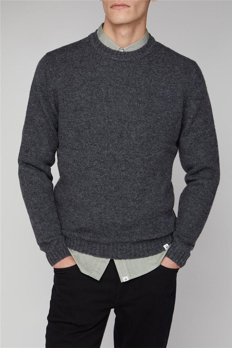 Delten Grey Shetland Wool Crew Knit Jumper