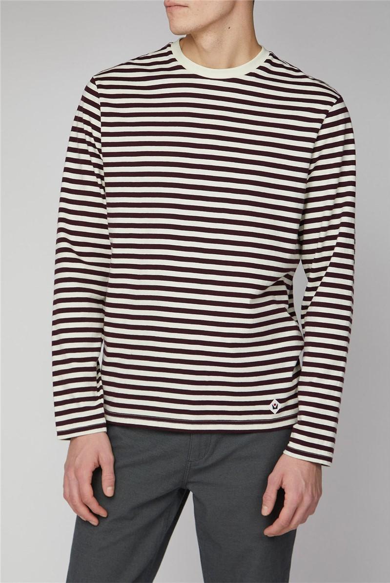 Axelsson Long Sleeve Burgundy Stripe Breton T-Shirt