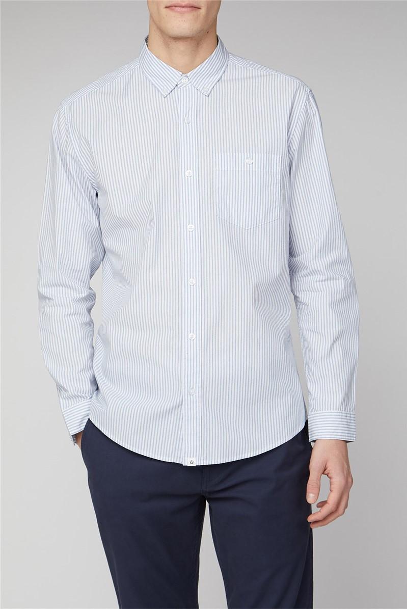 Alster Blue Long Sleeve End On End Stripe Shirt