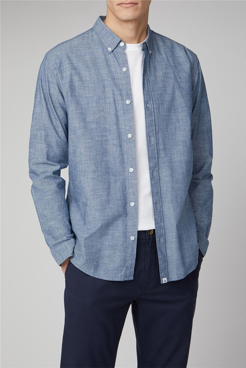 Raftan Blue Long Sleeve Chambray Slub Shirt