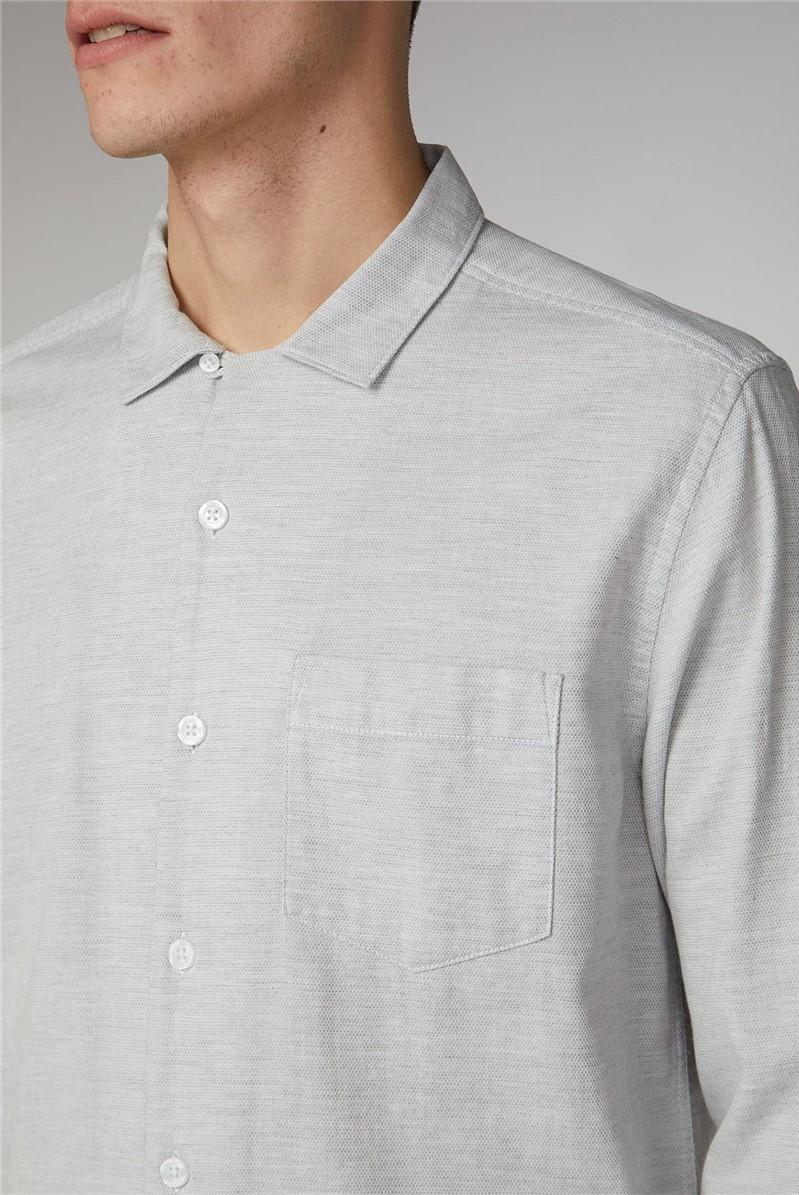 Visby Grey Long Sleeve Melange Basket Weave Shirt