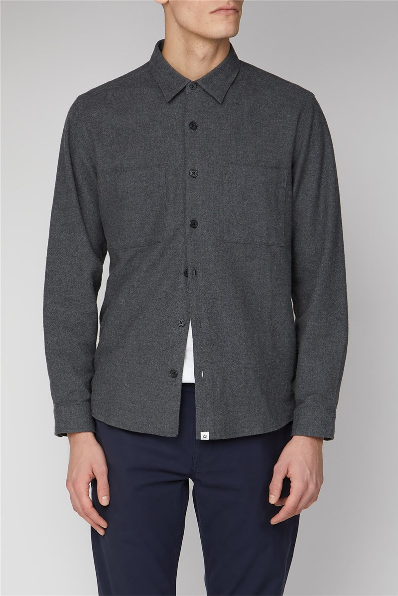 Uppsala Grey Long Sleeve Plain Flannel Shirt