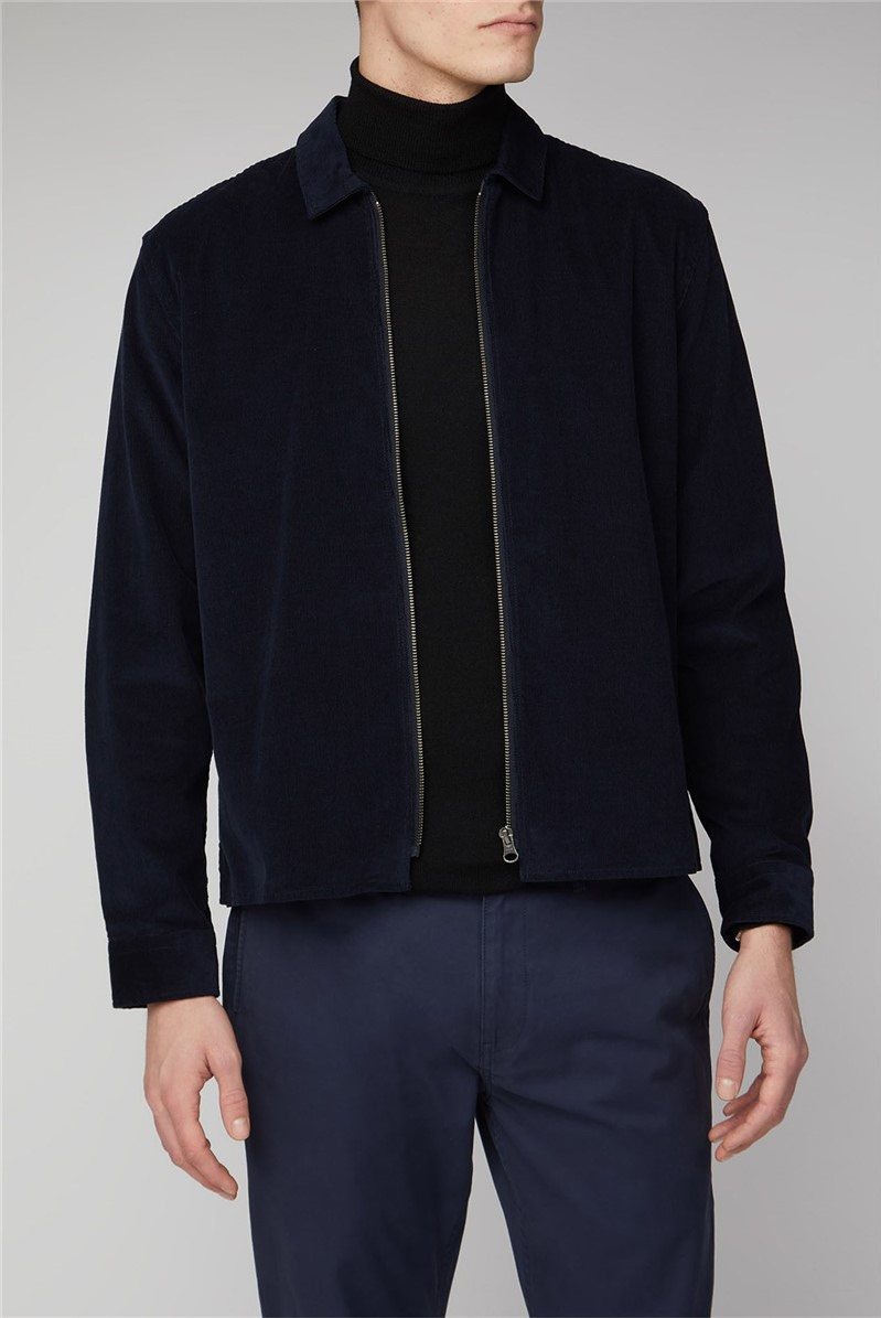 Torsby Navy Long Sleeve Cord Zip Through Shirt
