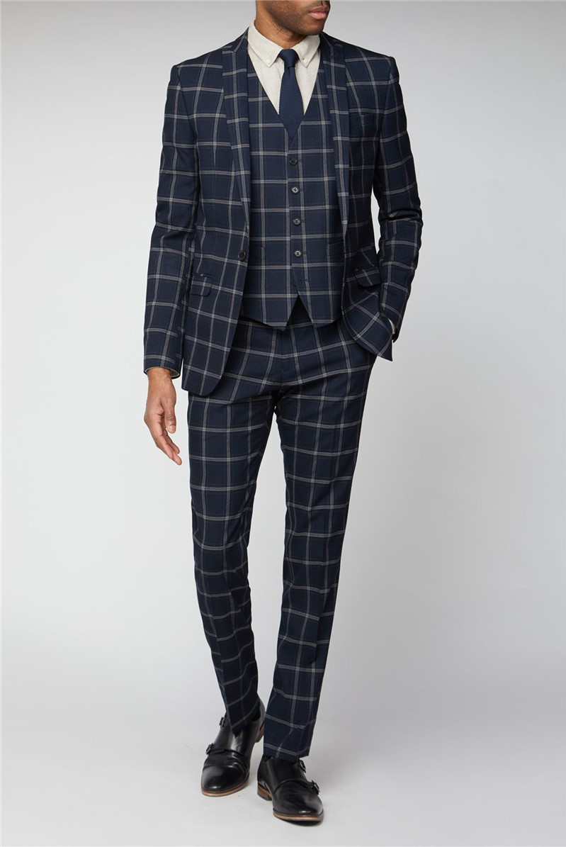 Navy Stone Check Slim Fit Suit