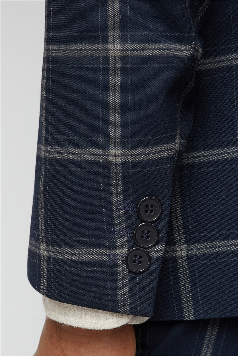Navy Stone Check Slim Fit Suit Trousers