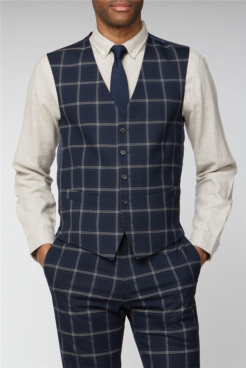 Navy Stone Check Slim Fit Waistcoat