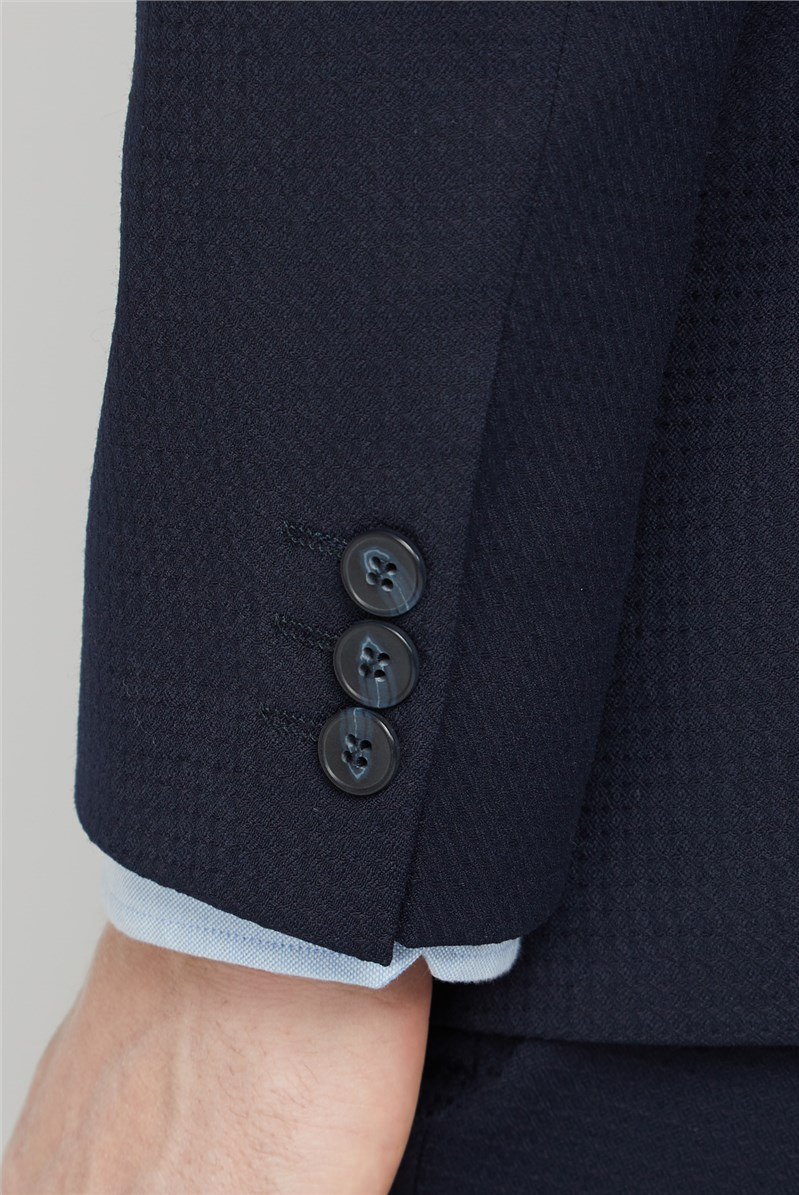 Navy Texture Tailored Fit Suit Trouser