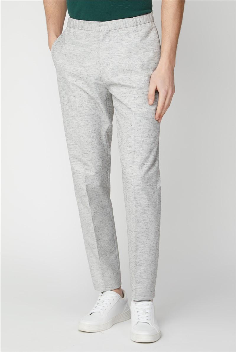 Grey Linen Texture Slim Fit Suit Trouser