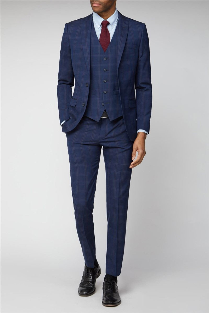 Navy Pink Bold Check Suit
