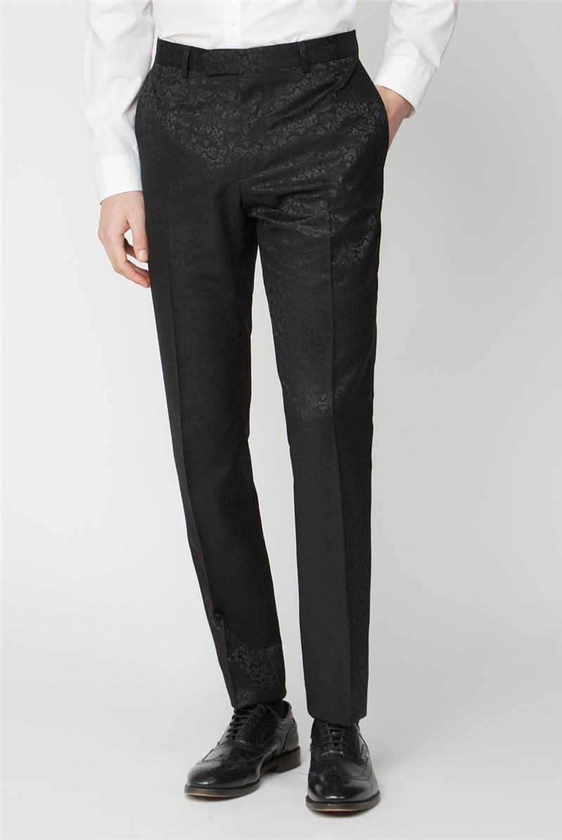 Black Tonal Jacquard Slim Fit Suit Trousers