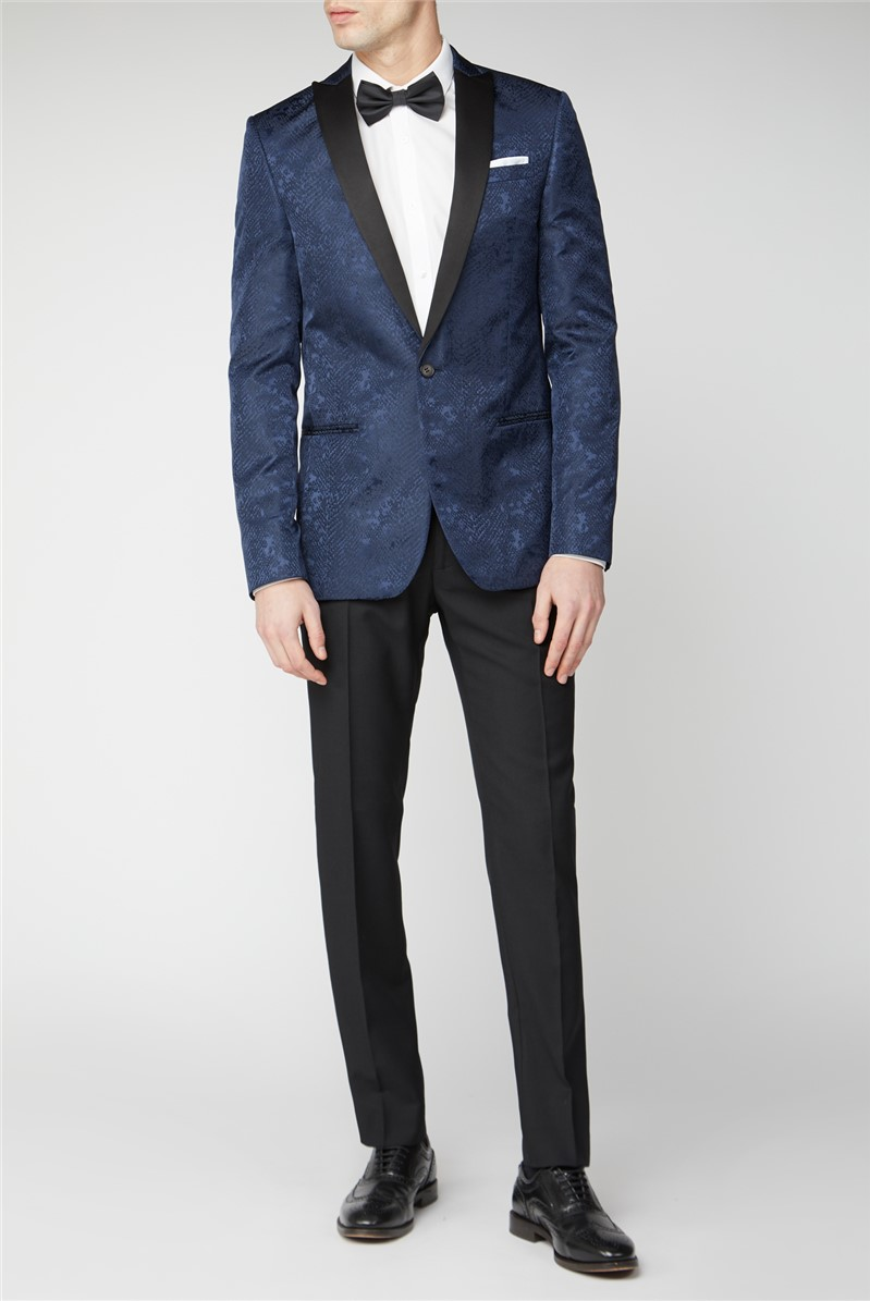 Navy Snake Jacquard Slim Fit Suit Jacket