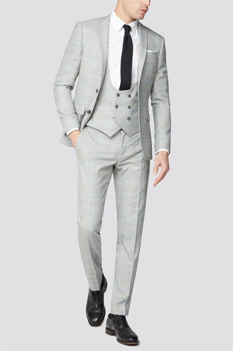 Grey Blue Check Suit