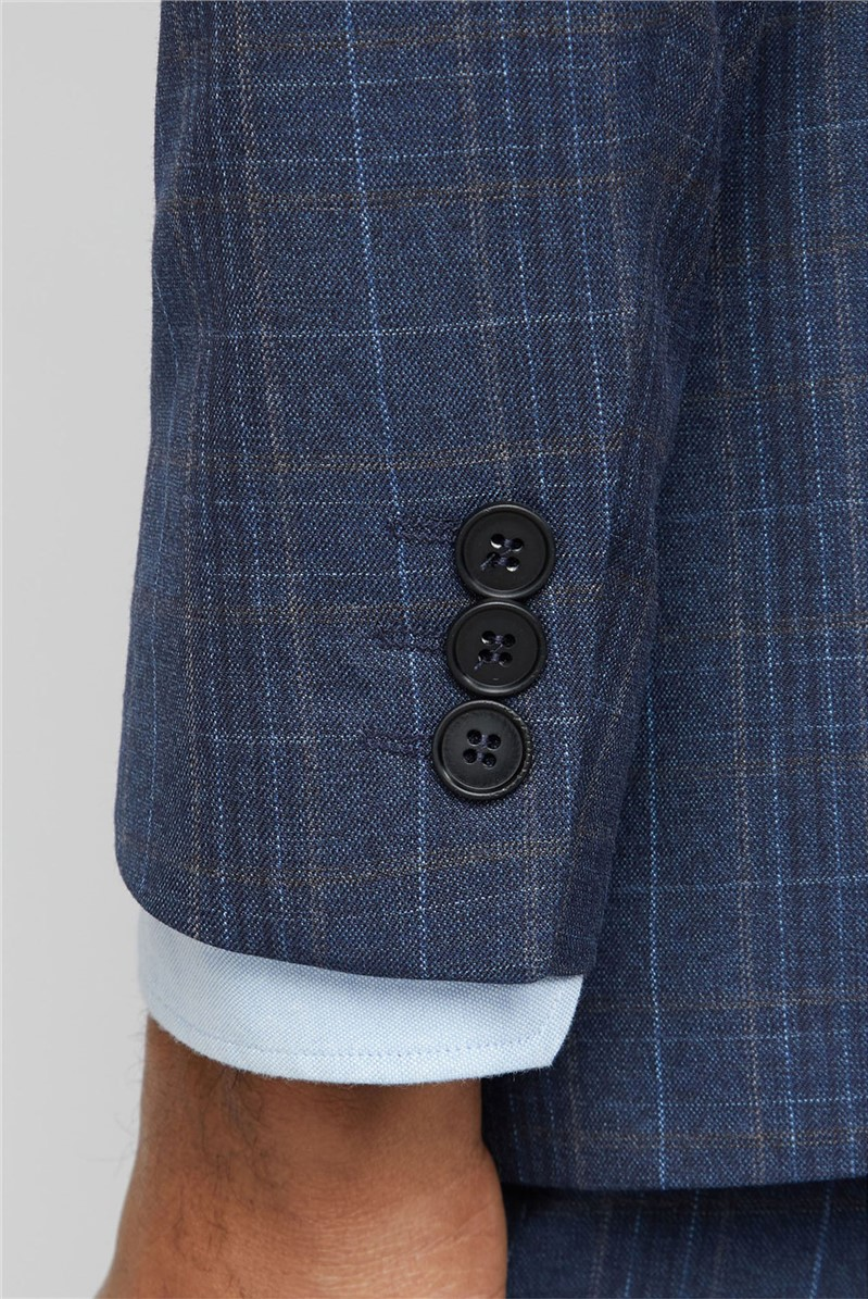 Navy Heritage Check Slim Fit Suit Trousers