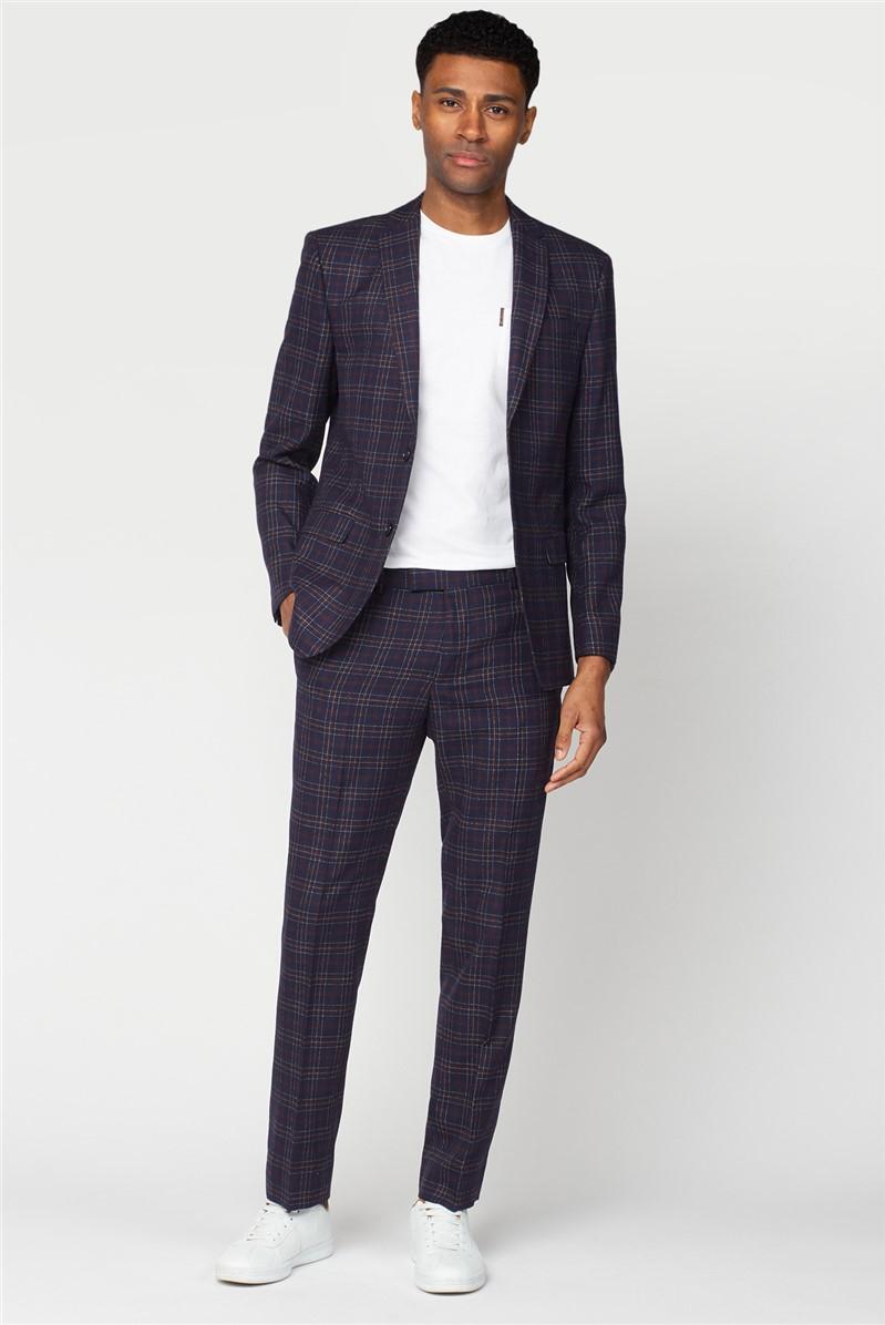 Navy Burgundy Bold Check Slim Fit Suit
