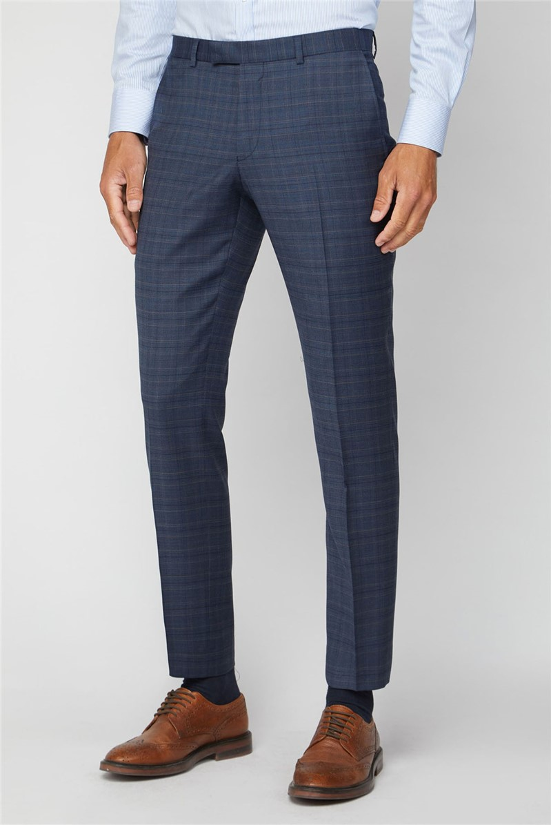 Navy Heritage Check Tailored Fit Suit Trousers