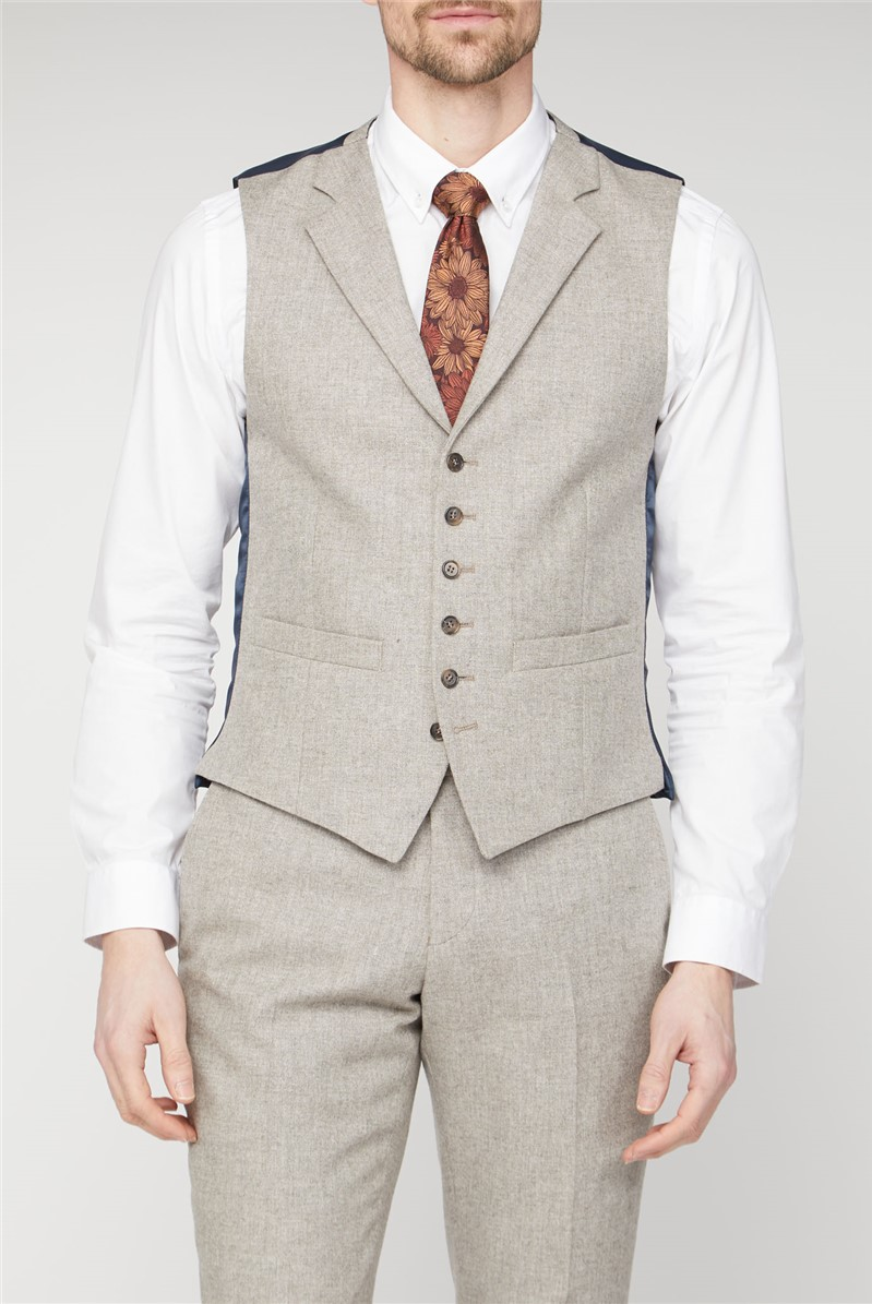 Sand Donegal Tailored Fit Suit Waistcoat