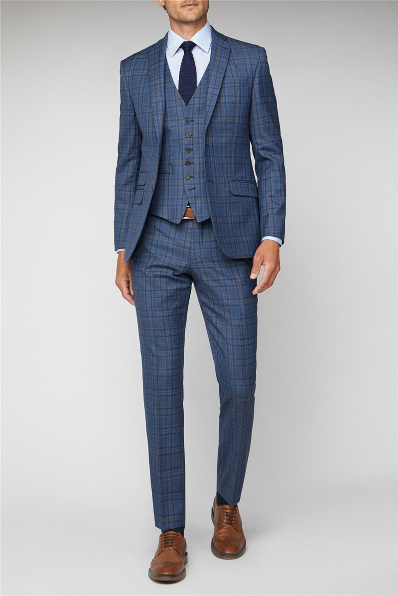 Blue With Rust Windowpane Tailored Fit Suit