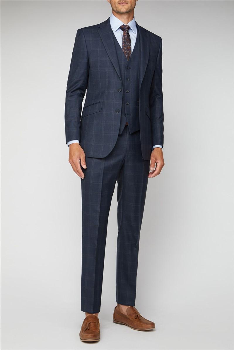 Navy Tonal Check Performance Regular Fit Suit Jacket