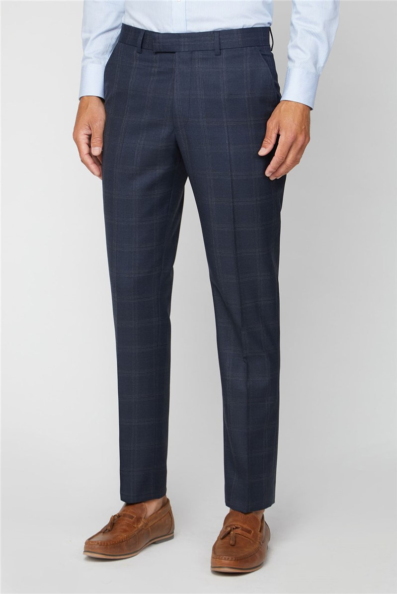 Navy Tonal Check Performance Regular Fit Suit Trousers