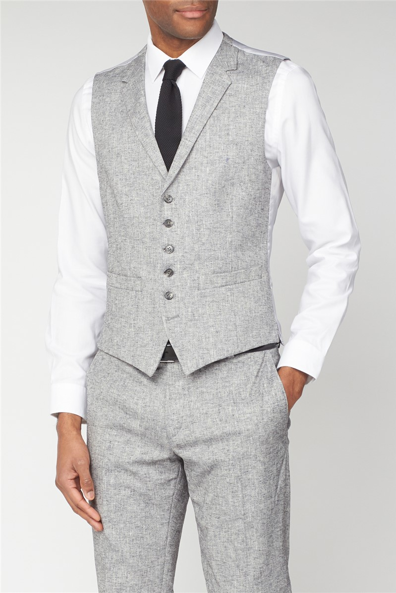Grey Textured Linen Look Tailored Fit Suit Trouser