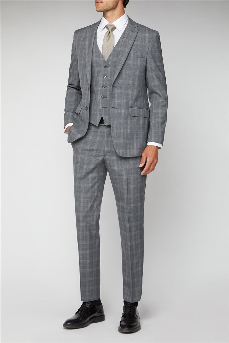 Grey Check Regular Fit Suit