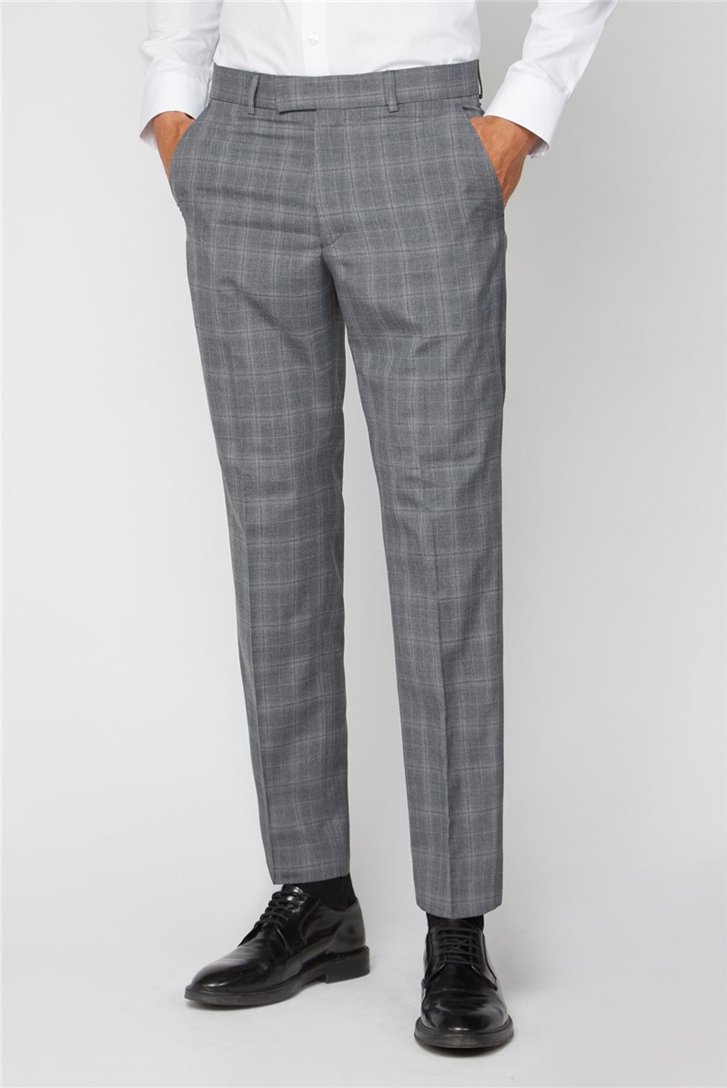 Grey Check Regular Fit Suit Trousers