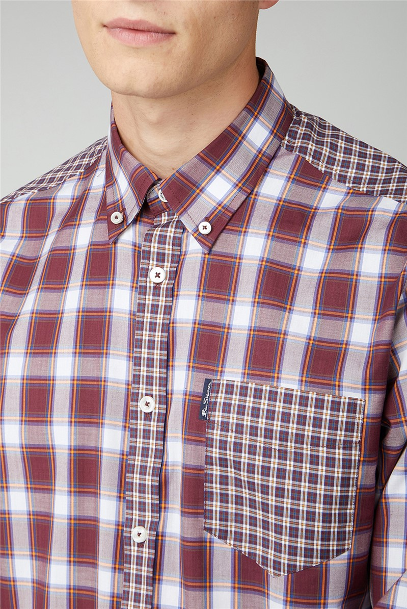 Red & White Mixed Check Long Sleeve Shirt