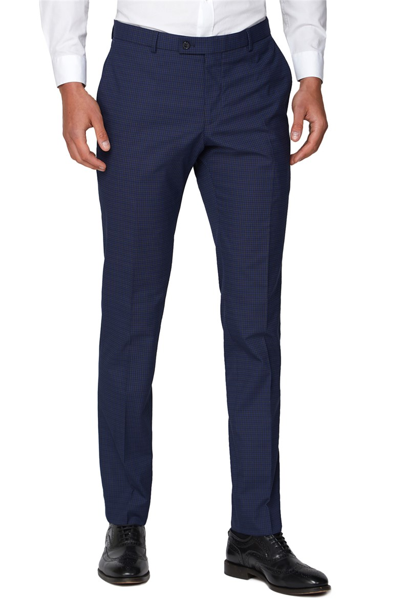 Blue Micro Check Skinny Fit Suit