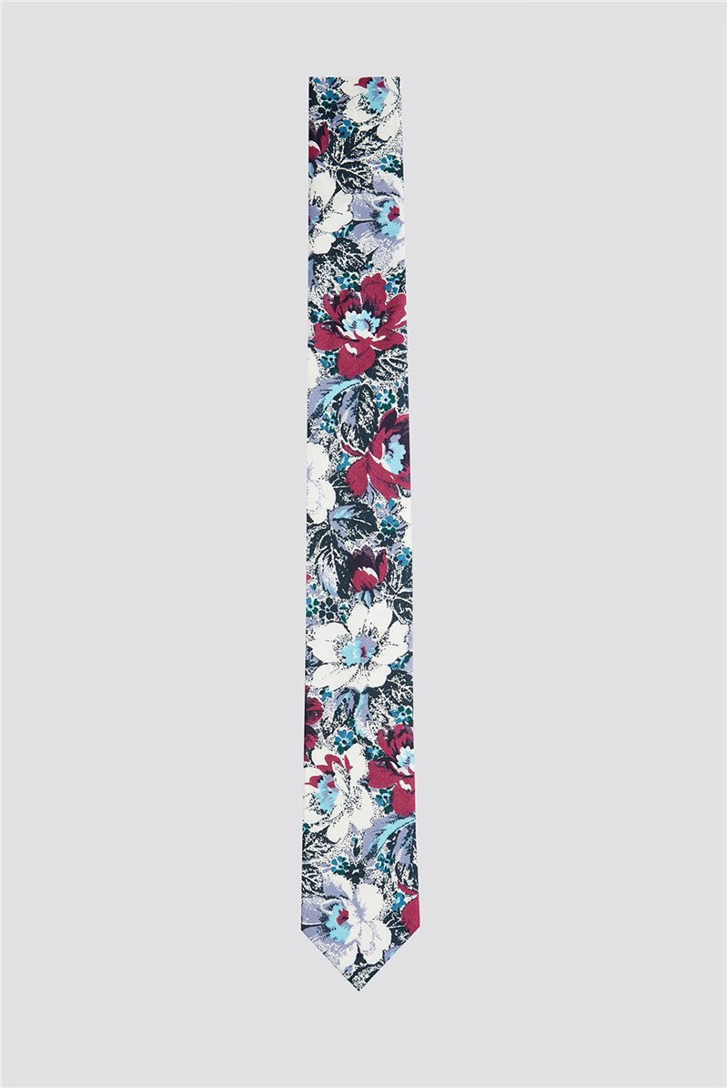 Lilac Bold Floral Print Tie