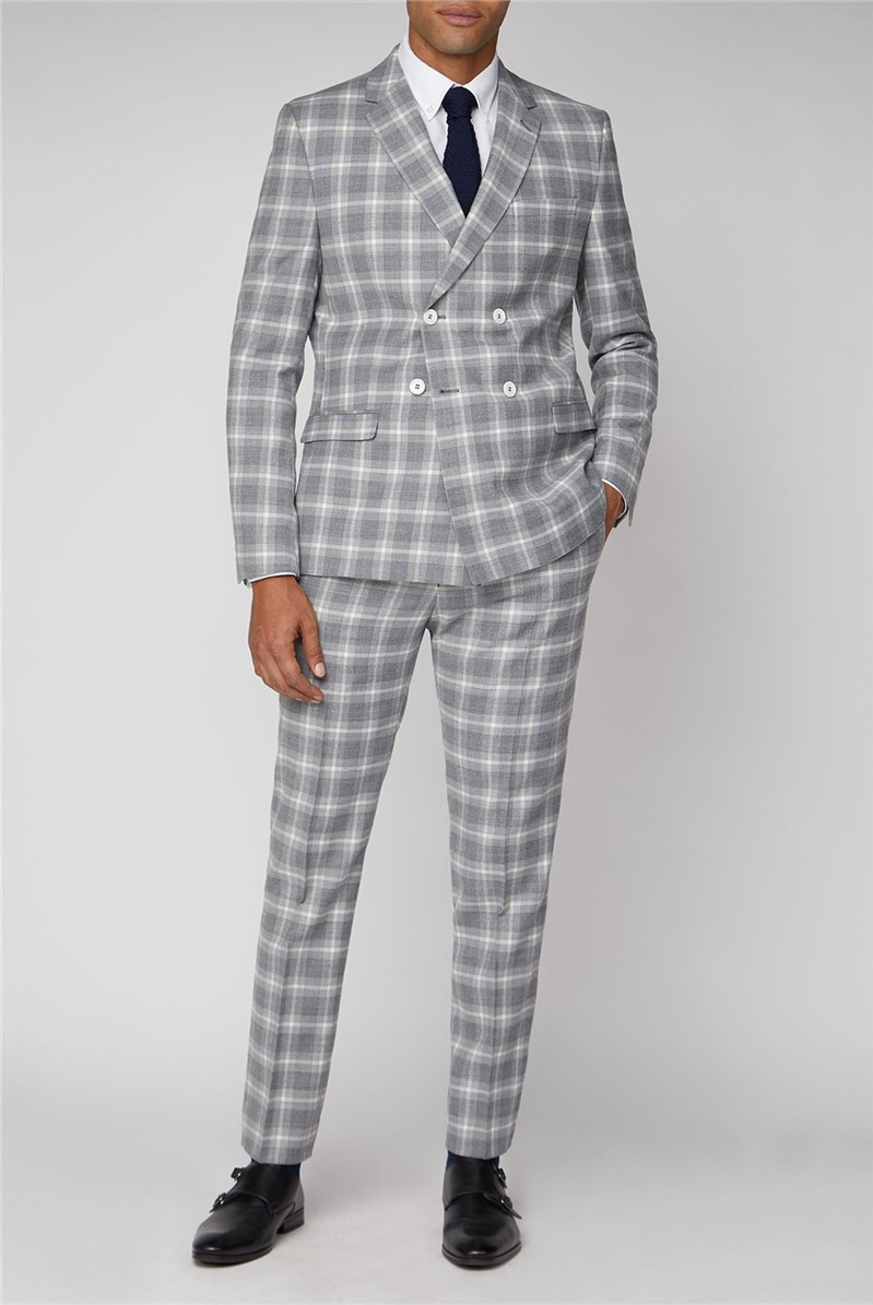 Grey Check Double Breasted Slim Fit Suit
