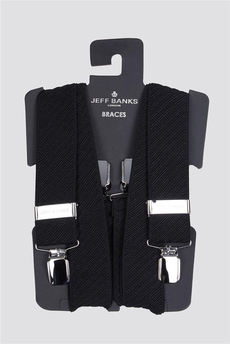 Jeff Banks Outlet Black Diagonal Texture Braces