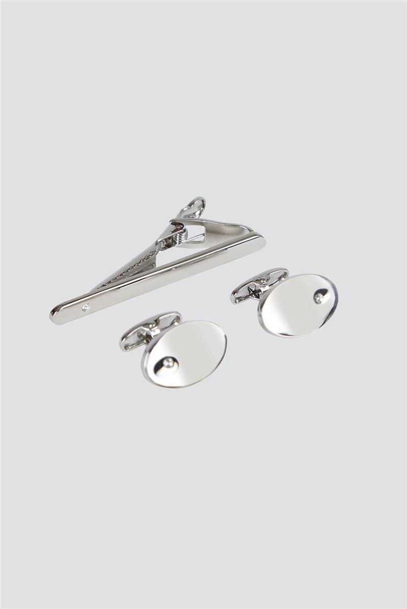 Silver Diamante Cufflinks