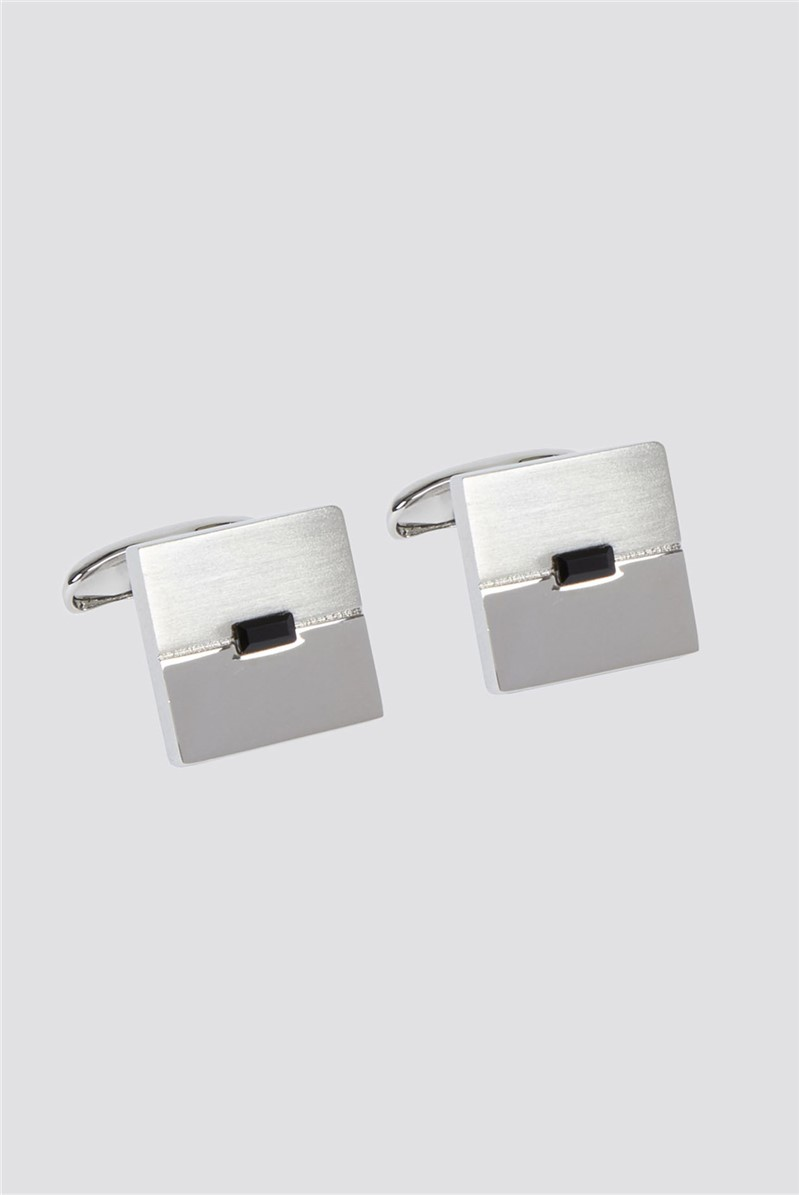 Half Brushed Black Centre Cufflinks