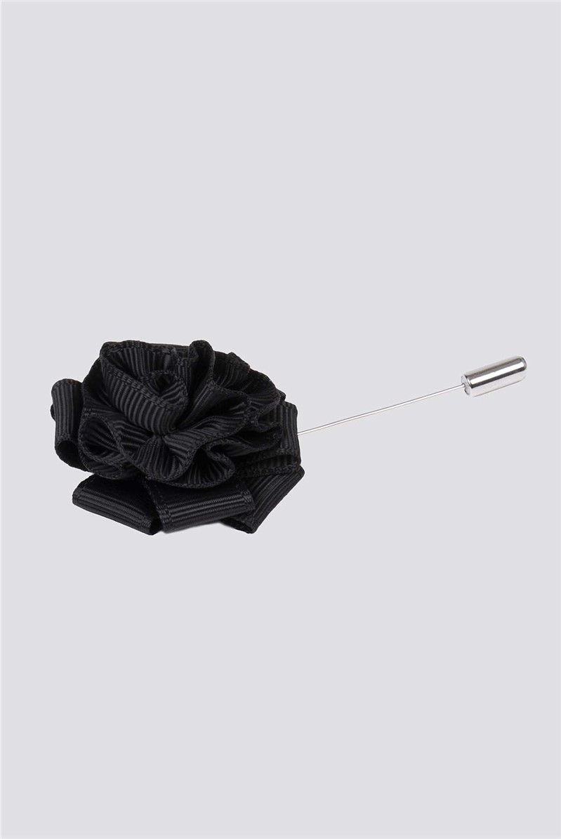 Black Floral Lapel Pin