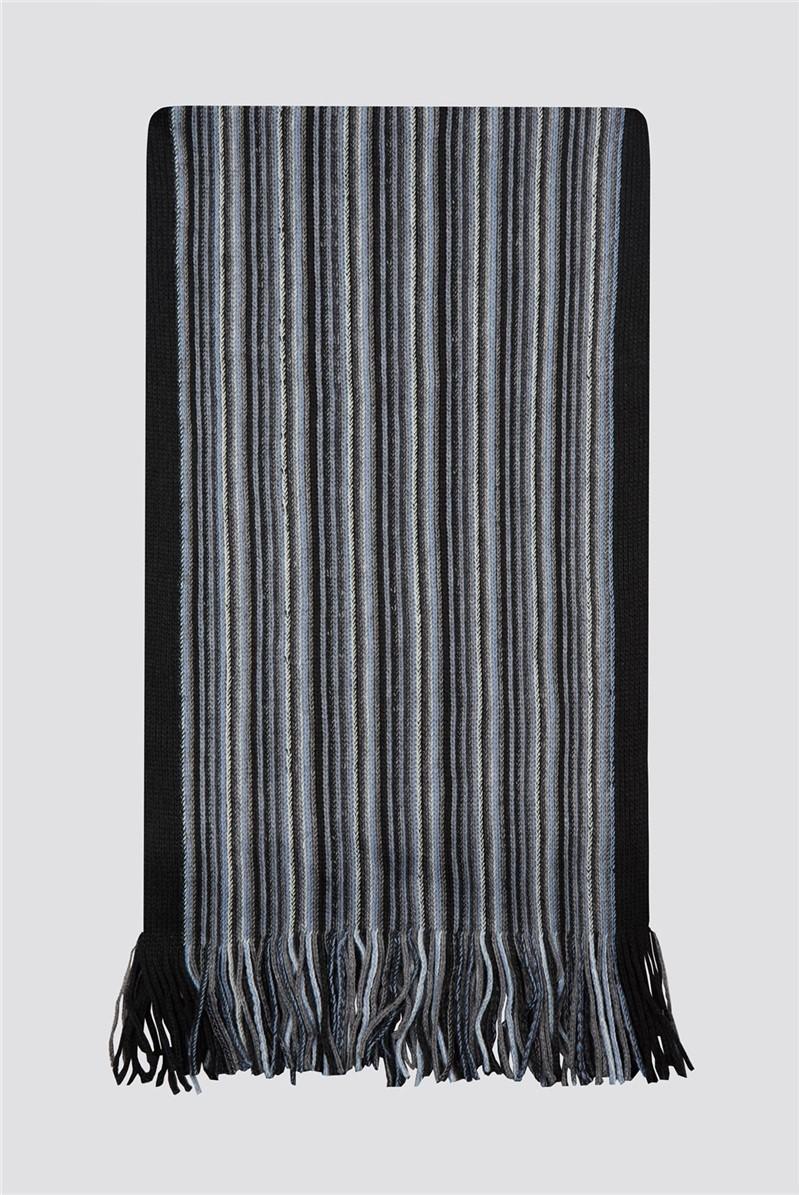 Grey Blue Striped Scarf