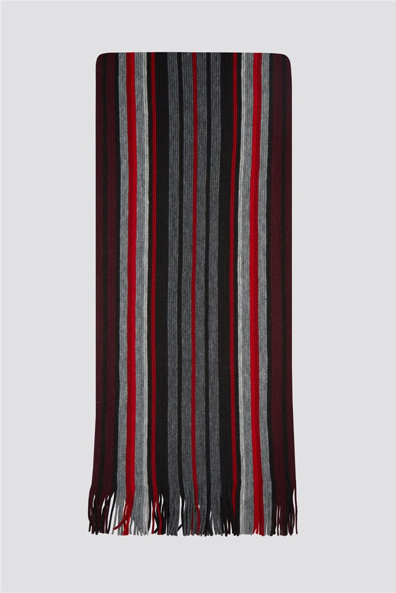 Grey Red Striped Scarf