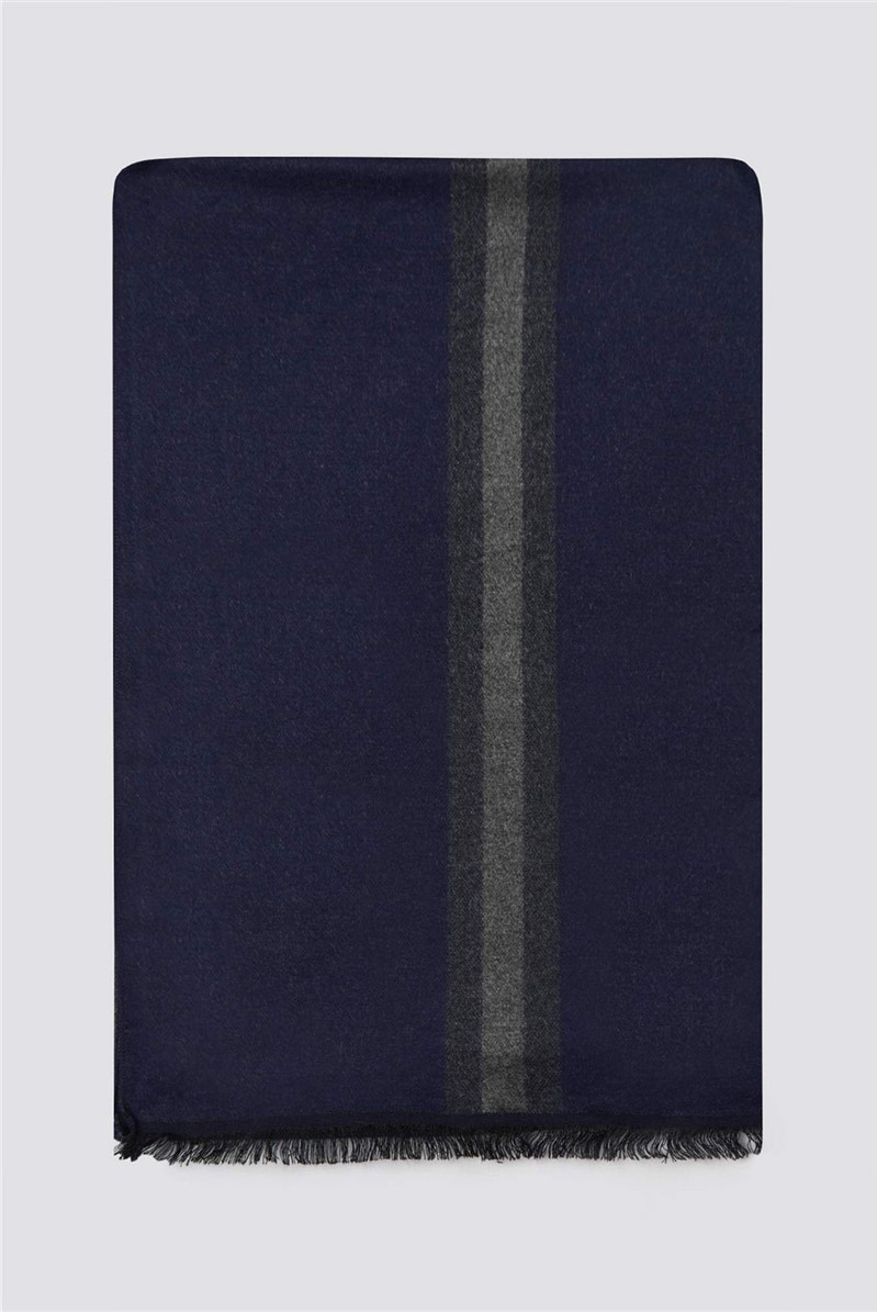 Navy Grey Stripe Scarf